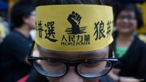 A protester at the July 1st anniversary of Hong Kong's handover. (Hongwrong.com)