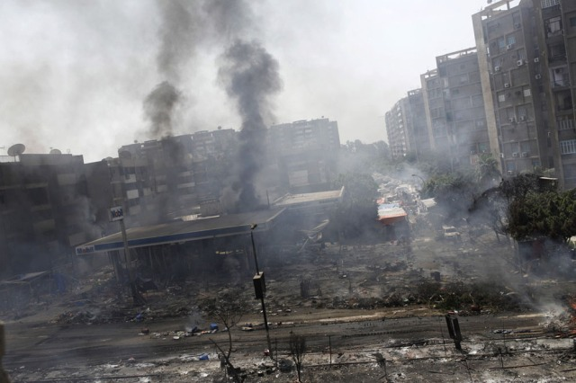 Cairo's Nasr City district after violent clashes (Ed Giles/Getty Images)