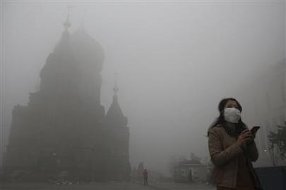 Smog in Harbin, China. October 21st