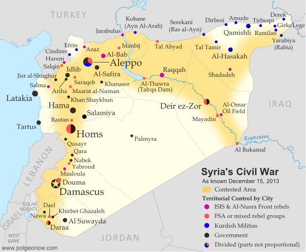 Map of fighting and territorial control in Syria's Civil War (Free Syrian Army rebels, Kurdish groups, Al-Nusra Front, ISIS/ISIL and others), updated for December 2013. Includes recent locations of conflict and territorial control changes, Al-Safira, Khanaser, Maaloula, Qara, Nabek, and .