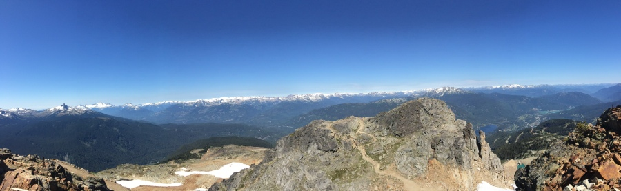 Panorama of mountains west of Mount Whistler, British Columbia.