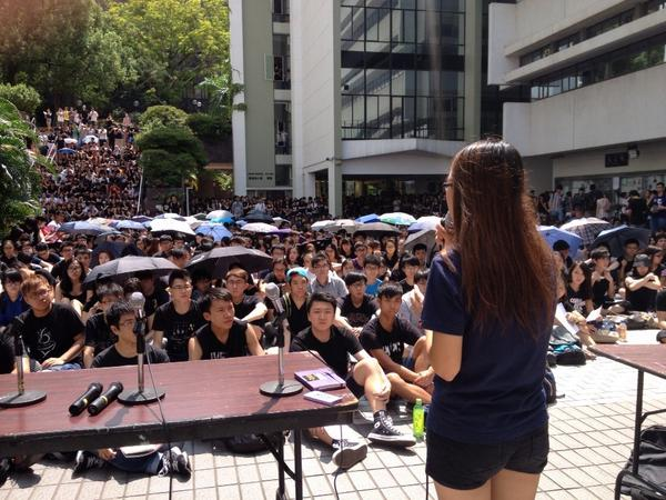 Student meeting to discuss tactics. September 29, 2014