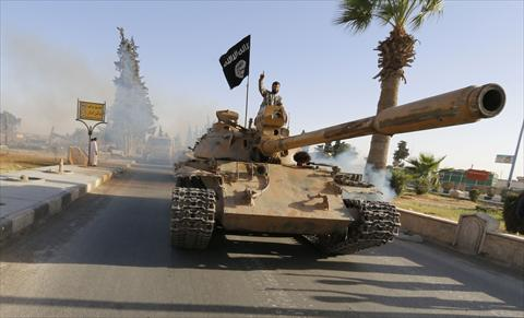 ISIS with captured tank