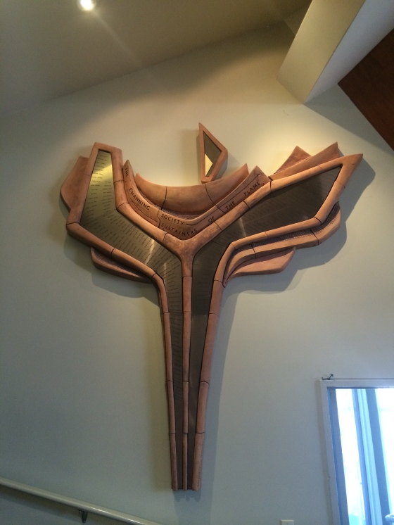 Wooden chalice on wall of meeting house, First UU of San Diego