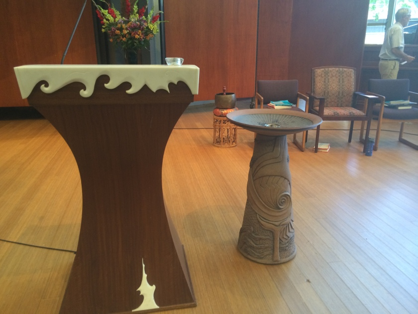 Pulpit and chalice, meeting house, First UU of San Diego