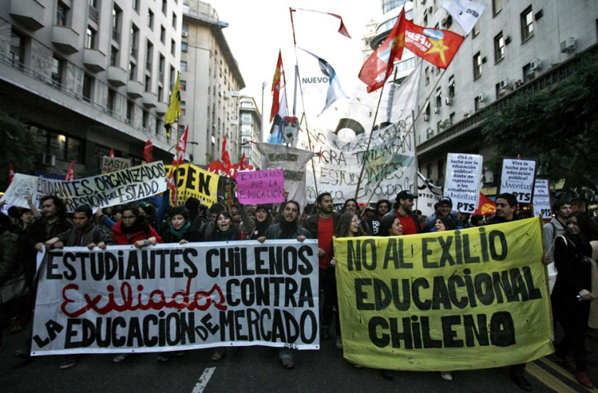 A march by Chilean students. August 5, 2011. (Maxi Failla/AFP/Getty Images)
