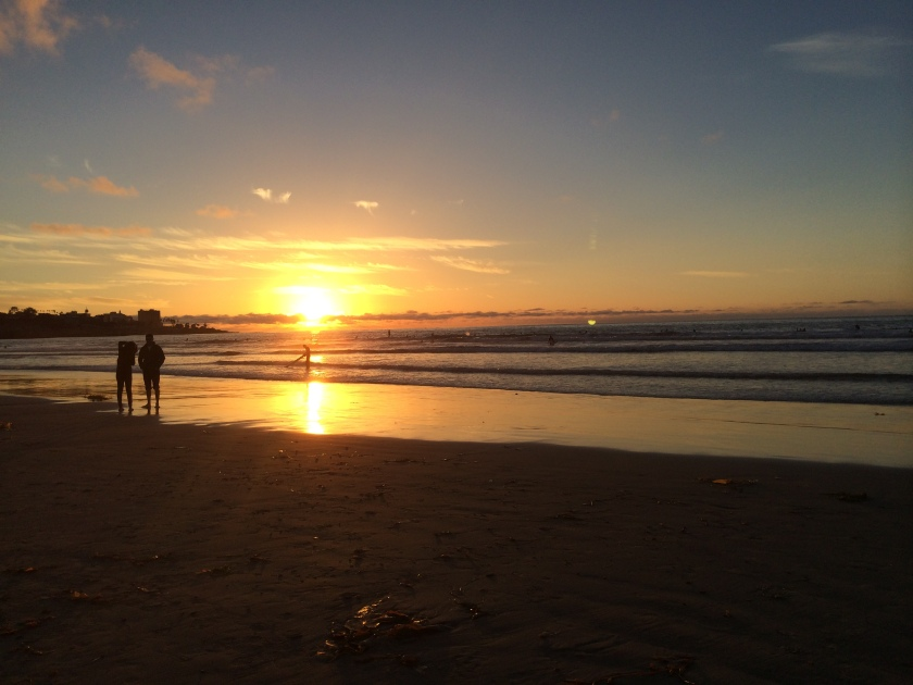 Sun sets at La Jolla Shores. Nov 14, 2014.
