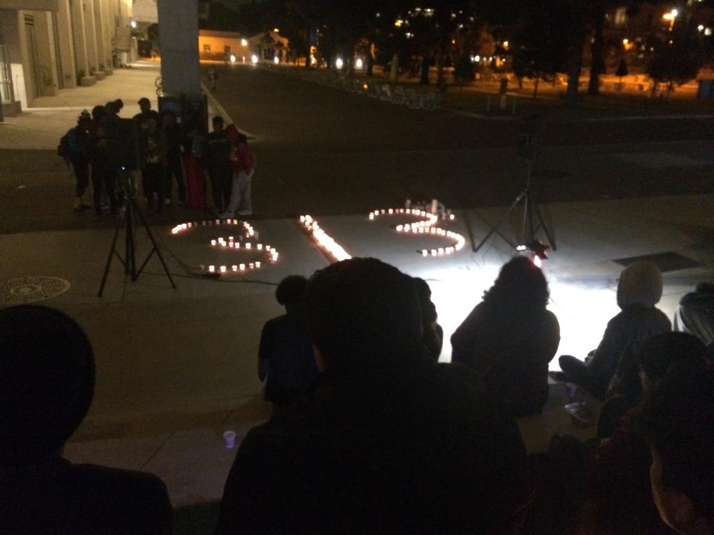 Candlelit vigil for black victims of police violence, UCSD campus.  December 11, 2014.