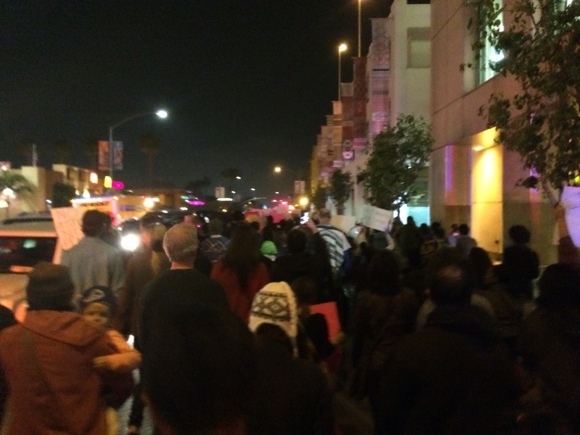 Protestors march through downtown San Diego in remembrance of Eric Garner.