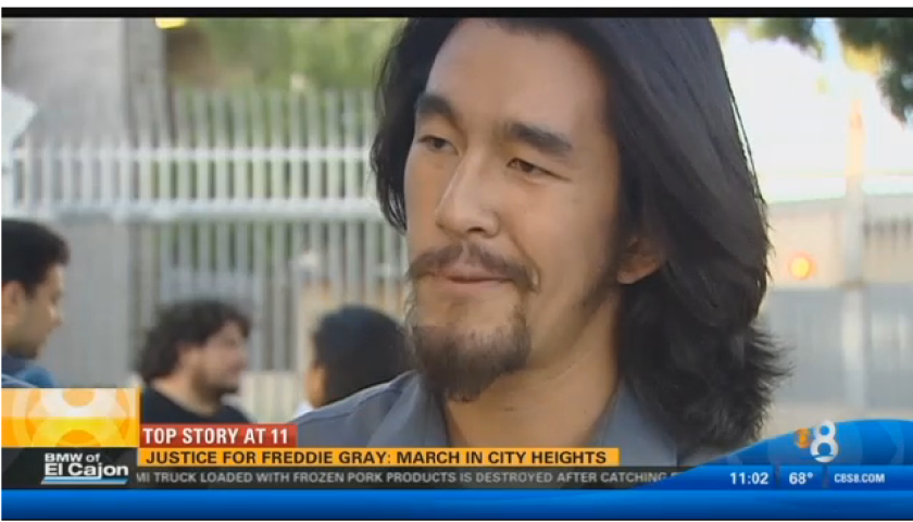 Bryan Kim speaks at the Freddie Gray solidarity rally. City Heights, San Diego. April 29, 2015.