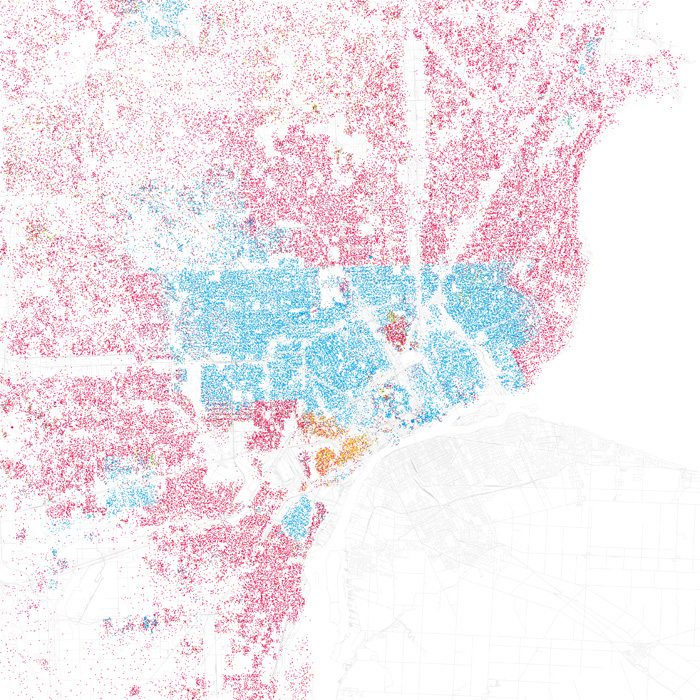 Detroit's racial segregation. Blue is black, pink is white. [http://www.radicalcartography.net/]