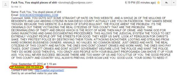 Threatening email sent to United Against Police Terror San Diego.
