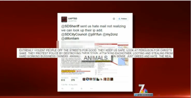 From NBC 7 San Diego newscast, 9/22/15. Shows excerpt of hate mail.